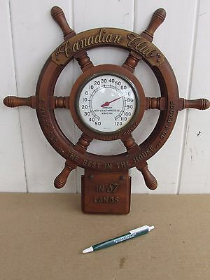 Canadian Club Blended Whisky Advertisement Ships Wheel Thermometer Hiram Walker