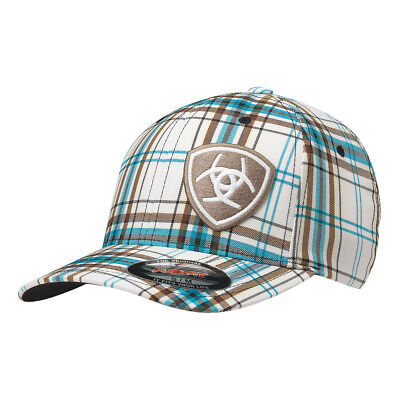 91787958793 ARIAT WESTERN MENS Hat Baseball Cap Plaid Flex Brown Tan 1510462 ...