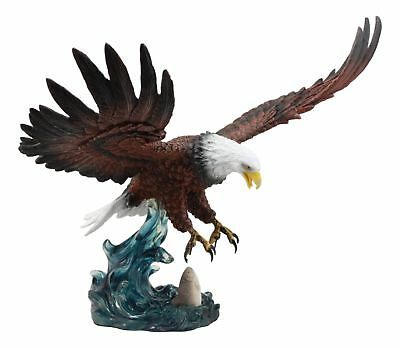 "19"" Long Large Bald Eagle Catching Fish Statue Colored Finish Resin Statue"