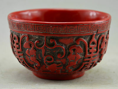 Chinese Red Coral Hand Carved Vines Grape Pattern Bowl Bumper harvest Statue