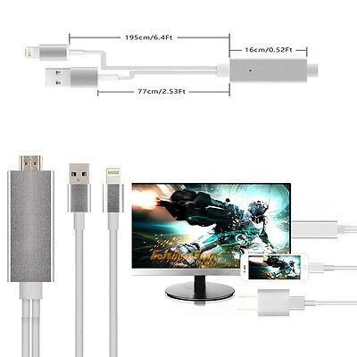 2M 8 Pin to HDMI HDTV AV Cable Adapter for Apple iPhone 5 6 6 Plus 7 iPad Air