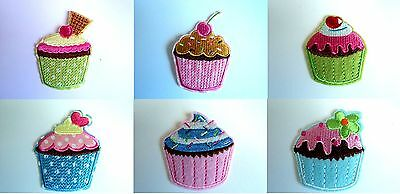 1x Cupcake Patches Embroidered Cloth Patch Applique Badge Iron Sew On