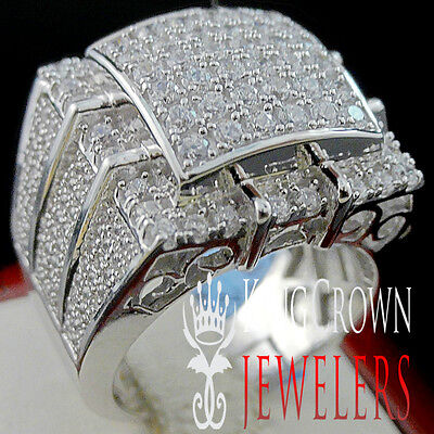 Mens 10K White Gold Over Real Silver Big Bold Simulated Diamond Pinky Ring Band