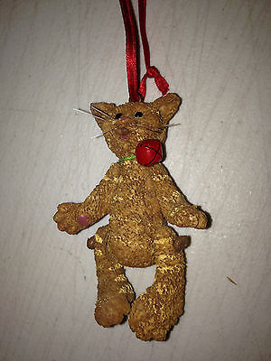 Vintage Kitty Cat Jointed Legs Christmas Ornament Brown Baby Kitten