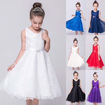 Pageant Flower Girl Dress Kids Birthday Wedding Bridesmaid Gown Formal Dresses..