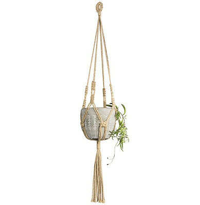 Mkono 2Pcs Mini Macrame Hanging Planter for Small Plants Succulent Cactus Jute