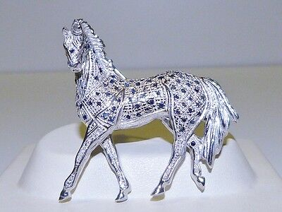 GENUINE! 0.78tcw African Sapphire 3D Horse Brooch in Solid Sterling Silver 925.