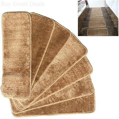 Non-skid Carpet Stair Treads Rubber Backing Mats Rug Set 7 Washable Camel 9x26in