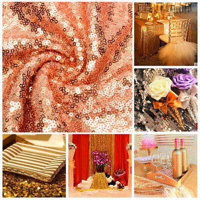 Rose Gold Rectangle Sequin Tablecloth Banquet Table Runner Wedding  Party Decor