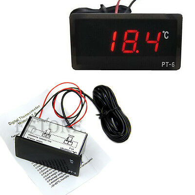 12V Vehicle Digital Thermometer Car LED Temperature Meter Probe -40~110°C