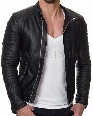 Mens Black Real Leather Jacket Casual Vintage Slim Fit Retro Genuine New Xs-3Xl