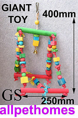 Large Bird Toy Giant Swing, Rope And Colourful Wood,for Cage, !!!