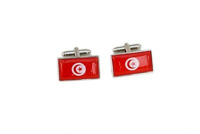Tunisia Flag Cufflinks with free organza pouch