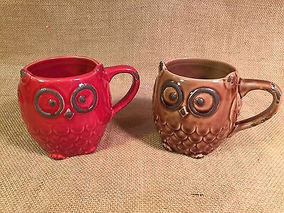 Set of 2 Rustic Retro Vintage Owl Mugs Coffee Cups Red & Brown