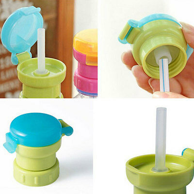 Kids Drink Water Bottle Replacement Cap Cover with Soft 27mm Straw Portable