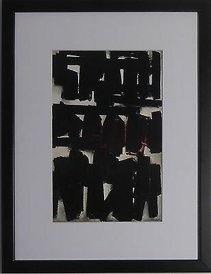 "Mounted and Framed Untitled Print by Pierre Soulages - 12"" x 16"""