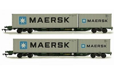 Dapol, 4F-044-004, OO Gauge, Twin Pack FEAB spine wagons & containers 'Maersk'