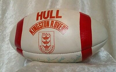 Authentic Hull Kingston Rovers Team Signed Rugby League Ball c1980s