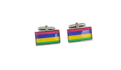 Mauritius Flag Cufflinks with free organza pouch
