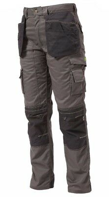 Apache Heavy Duty Cargo Work Wear Cordura Trousers Kneepad Holster Pockets Grey