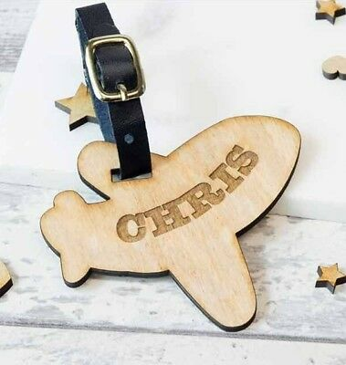 Personalised Wooden Luggage Tag Airplane Engraved Suitcase Tags