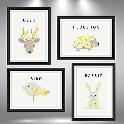 SET of 4 EASTER SPRING ANIMALS Nursery New Baby Decor picture prints 5 sizes