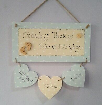 Handmade Wooden New Baby Plaque-Personalised-Boy-Girl-Gift-New Parents-Keepsake