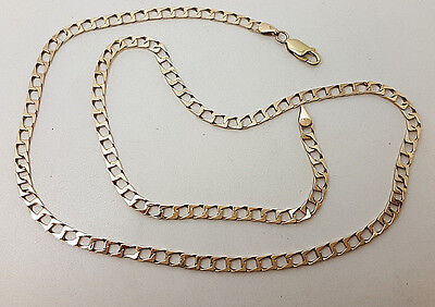 """Lovely 9ct Gold 19"""" Square Curb Link Chain Necklace.  Goldmine Jewellers."""