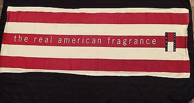 Vtg Tommy Hilfiger Big Logo Ad Banner Real American Fragrance Stripes Patriotic