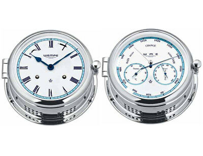 Wempe Set Admiral II Messing verchr.- Glasenuhr röm. Ziff., Kombi-Messinstrument