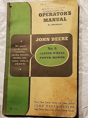 John Deere No. 5 Caster- Wheel Power Mower Manual No. OM-H-10-347 &gasket(J-104)