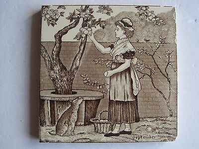 Antique Victorian Wedgwood Old English (Months) September Wall Tile C.1878