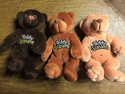 "Set of 3 Teddy Grahams Plush Bears - 8"" Promotional"
