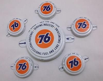 6~Vintage~Tri-Sure~Union 76~Tab Seals~American Flange Co~Gas Station~Unused!