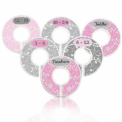 Mumsy Goose Baby Girl Nursery Closet Dividers Pink & Gray