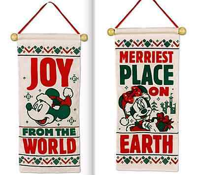 Disney Park✿Christmas Holiday Mickey Minnie Door Hanger Decoration Joy Peace Bow
