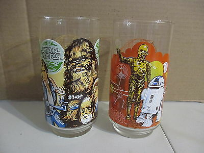 Vintage Burger King Original Star Wars Set of 2 1977 Collector Glass Chewbacca