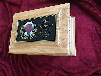 Oak Wooden Funeral Urns for Ashes  / Adult Casket Made to Order Memorial Plaque
