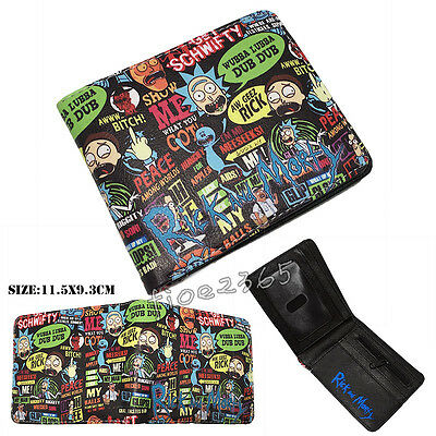 Anime Rick and Morty Wallet Faux Leather Bi-Fold Purse Card Layers Coin Bag Gift
