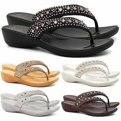 03d0bc4bafcb New Womens Low Wedge Diamante Flip Flops Sandals Ladies Summer Toe Post  Beach UK