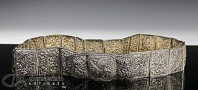 Large Old Antique Indian Burmese Solid Silver Belt With Nice Detail