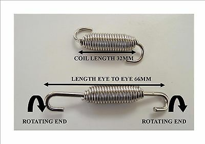 2 x Stainless Steel Exhaust Springs 66mm For Expansion Pipes Or Manifold Link