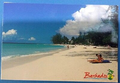 Barbados postcard: Accra beach, posted with stamps.