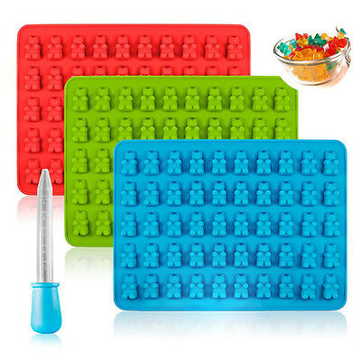 50 Cavity Silicone Gummy Bear Chocolate Mold Candy Maker Ice Tray Jelly Dropper