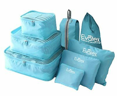 Packing Cubes - 8 Set Travel Packing Cubes-by Evatex with Waterproof Shoe Bag...
