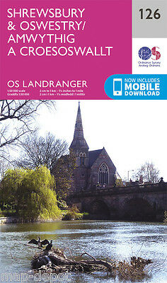 SHREWSBURY & OSWESTRY LANDRANGER MAP 126 - Ordnance Survey - OS - NEW 2016