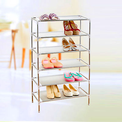 6 Tier Shoe Storage Rack Stand Organiser Cabinet Shelf Easy Assemble f/ 18 Pairs