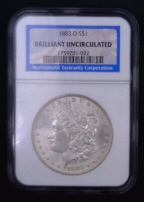 1883 O Morgan Dollar NGC Brilliant Uncirculated 90% Silver 001