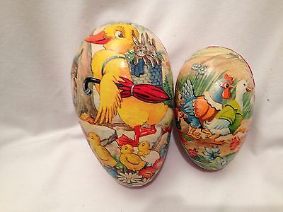 """Two Vintage Western Germany Paper Mache Easter Eggs - 6"""" and 4 1/2"""""""