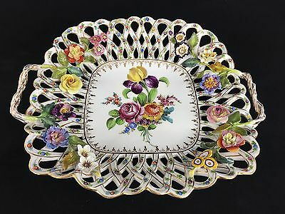 Square Dresden Porcelain Lattice Dish Early 20th Century Flowers